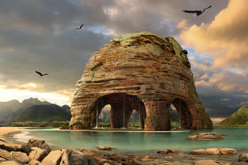 Der koloss acrylglasbild landschaftsbilder moderne for Moderne landschaftsbilder