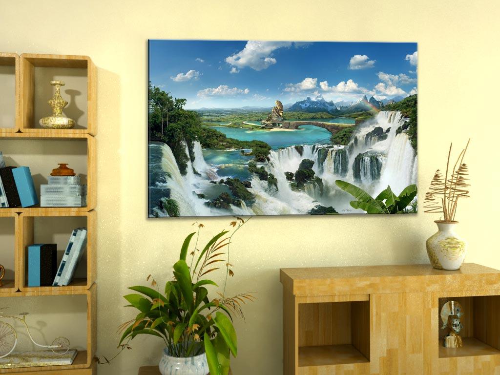 Once upon a Time Leinwandbild Wellness Wasserfall Fantasy moderne Kunst Natur