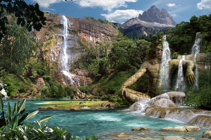 Waterfalls mountain landschaftsbilder der fantasy kunst for Moderne landschaftsbilder